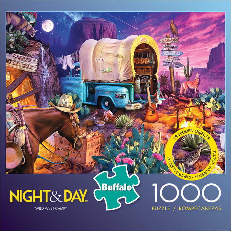 Night & Day Wild West Camp 1000 Piece Jigsaw Puzzle Front