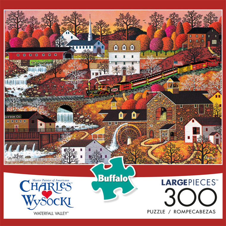 Charles Wysocki Waterfall Valley 300 Large Piece Jigsaw Puzzle Front