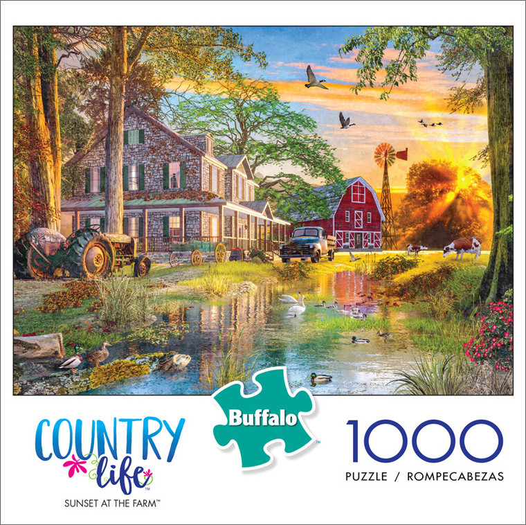 Country Life Sunset at the Farm 1000 Piece Jigsaw Puzzle Front