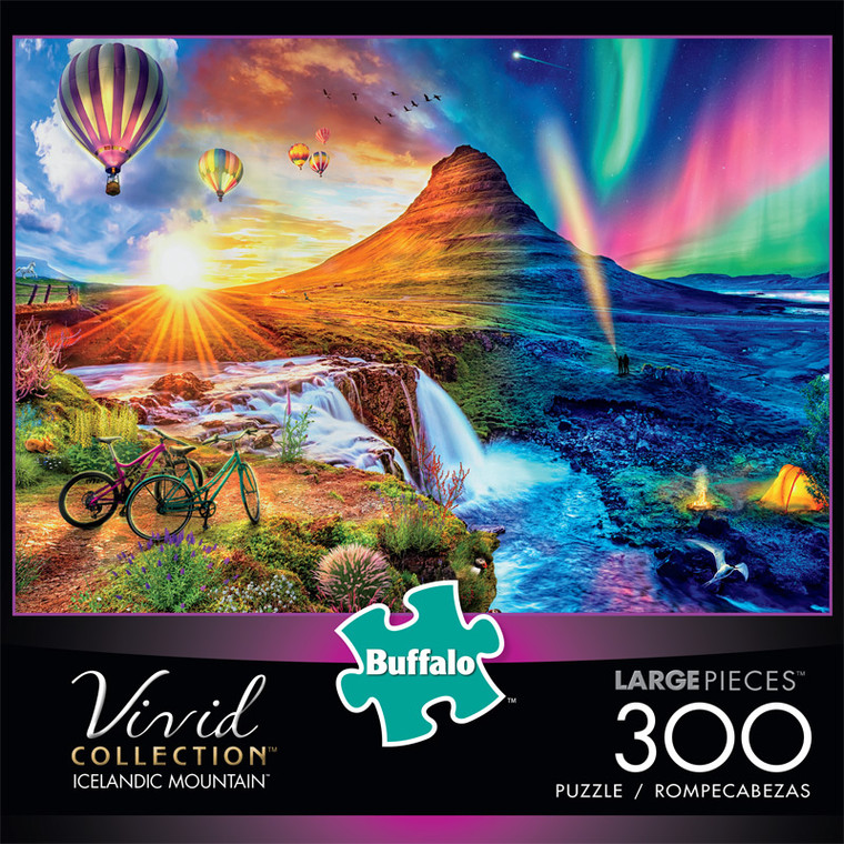 Vivid Icelandic Mountain 300 Large Piece Jigsaw Puzzle Front