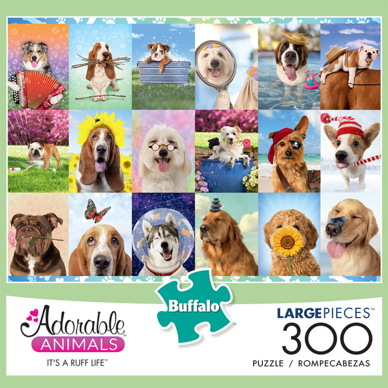 Adorable Animals It's a Ruff Life 300 Large Piece Jigsaw Puzzle Front
