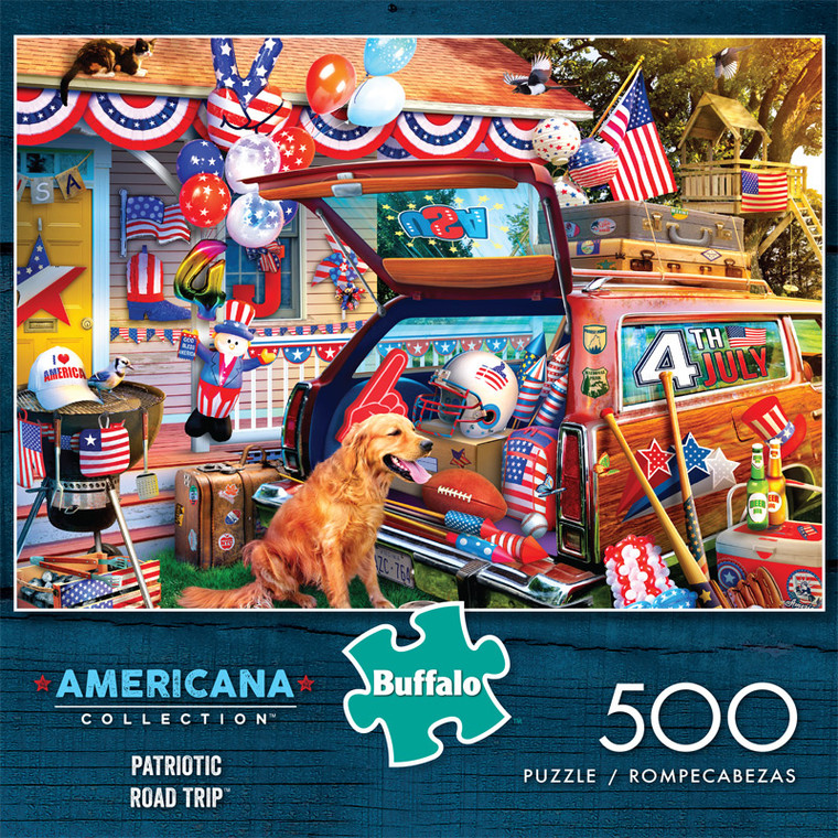 Americana Collection Patriotic Road Trip 500 Piece Jigsaw Puzzle Front