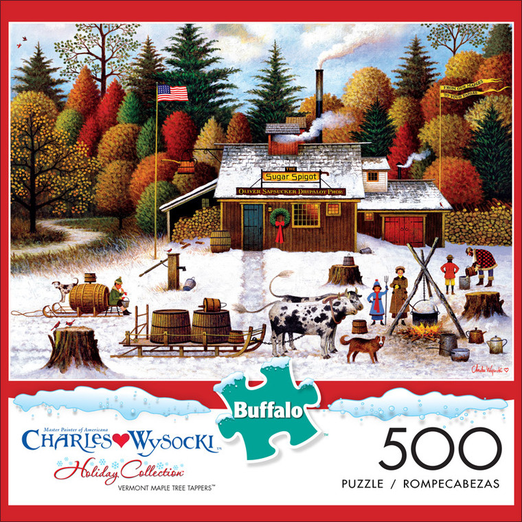 Charles Wysocki Vermont Maple Tree Tappers 500 Piece Jigsaw Puzzle Front