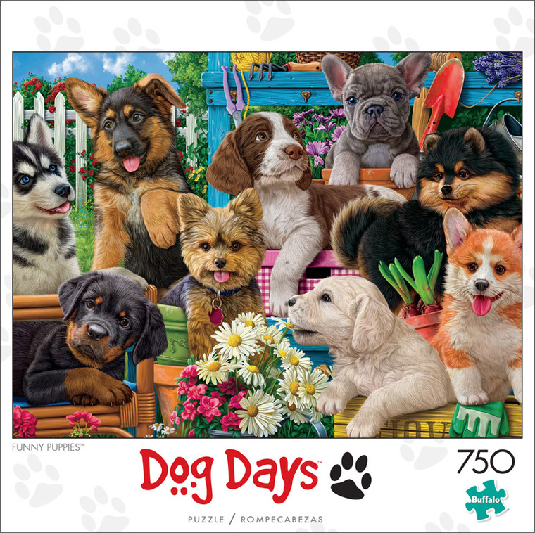 Dog Days Funny Puppies 750 Piece Jigsaw Puzzle Front