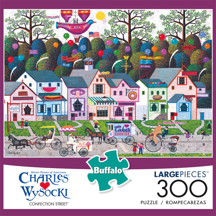 Charles Wysocki Confection Street 300 Large Piece Jigsaw Puzzle Front