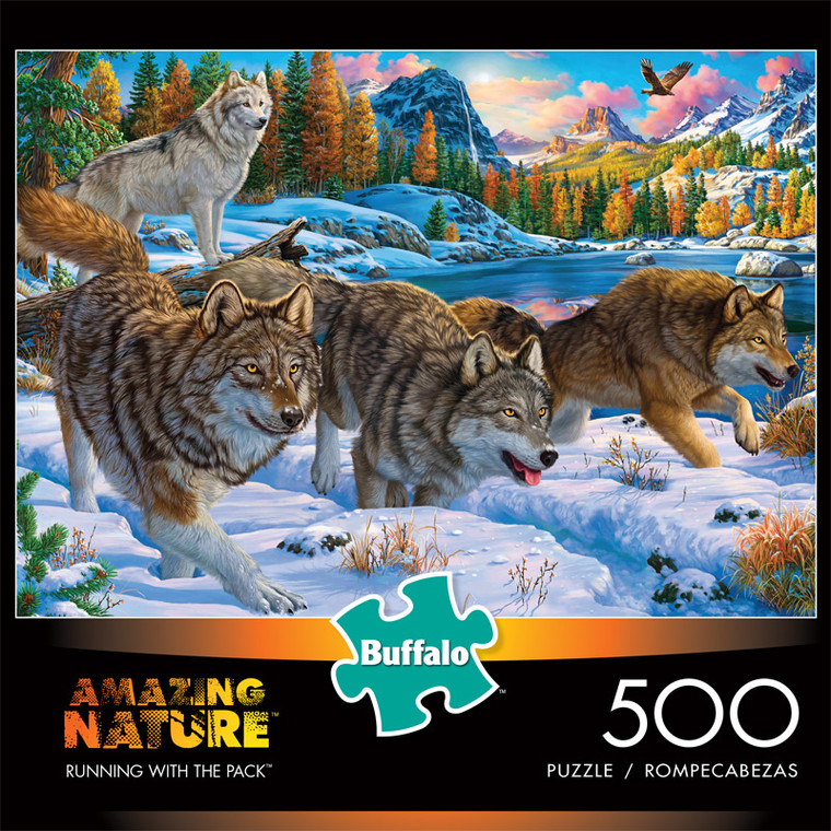 Amazing Nature Running With The Pack 500 Piece Jigsaw Puzzle Front
