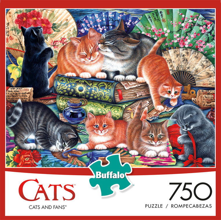 Cats and Fans 750 Piece Jigsaw Puzzle Front