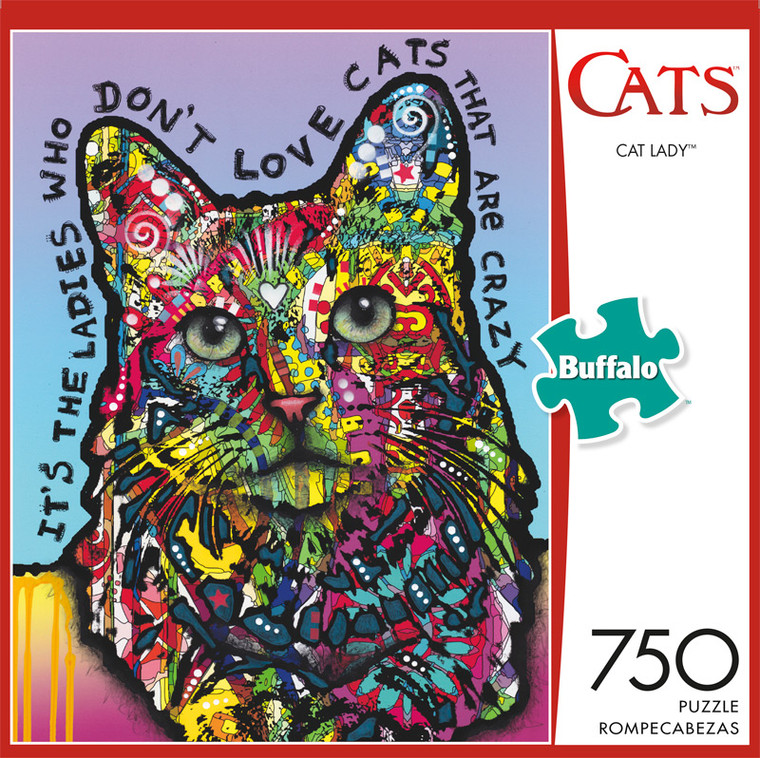 Cats Cat Lady 750 Piece Jigsaw Puzzle Front