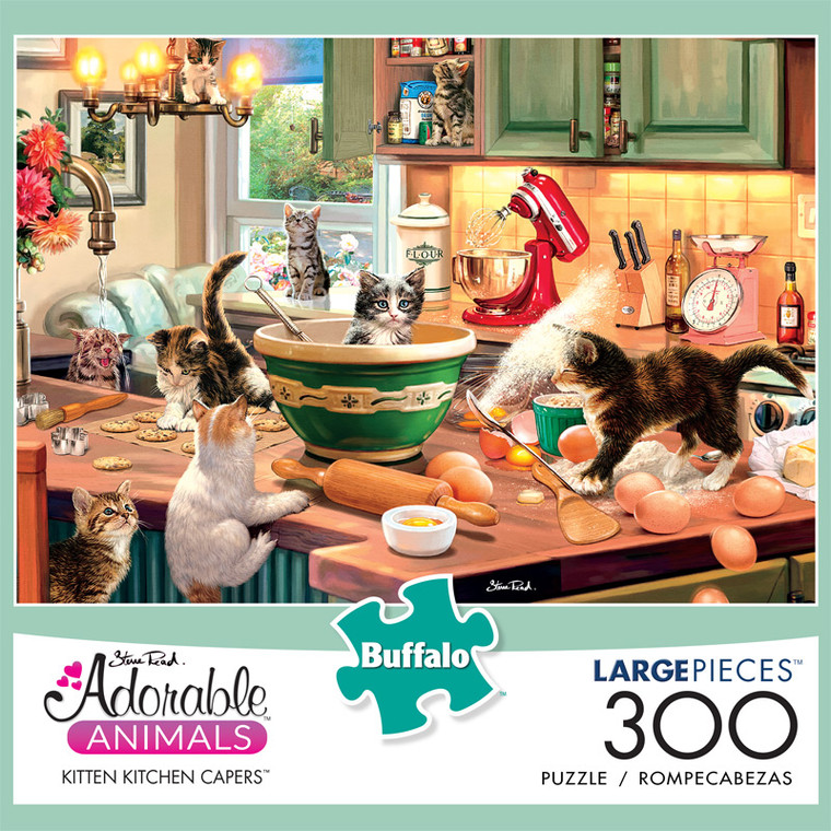Adorable Animals Kitten Kitchen Capers 300 Large Piece Jigsaw Puzzle Front