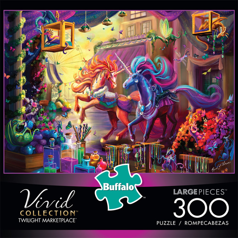 Vivid Twilight Marketplace 300 Large Piece Jigsaw Puzzle Front