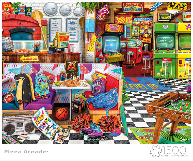 Art of Play Aimee Stewart Pizza Arcade 1500 Piece Jigsaw Puzzle Front