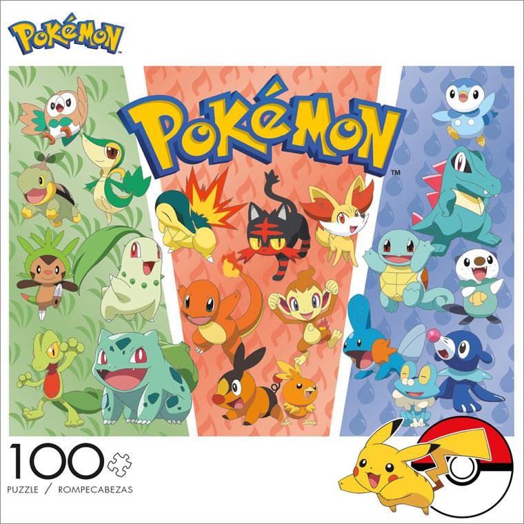 Pokémon Partners Grass, Fire, Water 100 Piece Jigsaw Puzzle Front