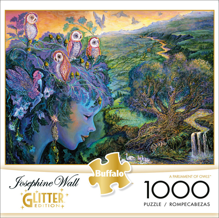 Josephine Wall A Parliament of Owls Glitter Edition 1000 Piece Jigsaw Puzzle Front