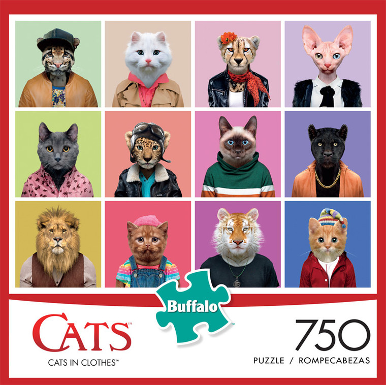 Cats Cats in Clothes 750 Piece Jigsaw Puzzle Front