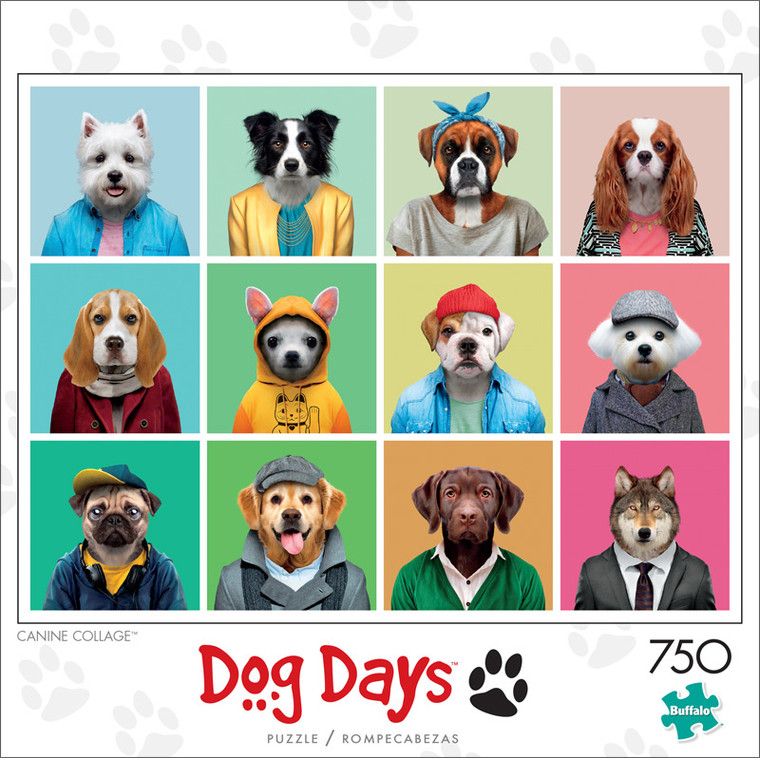 Dog Days Canine Collage 750 Piece Jigsaw Puzzle Front
