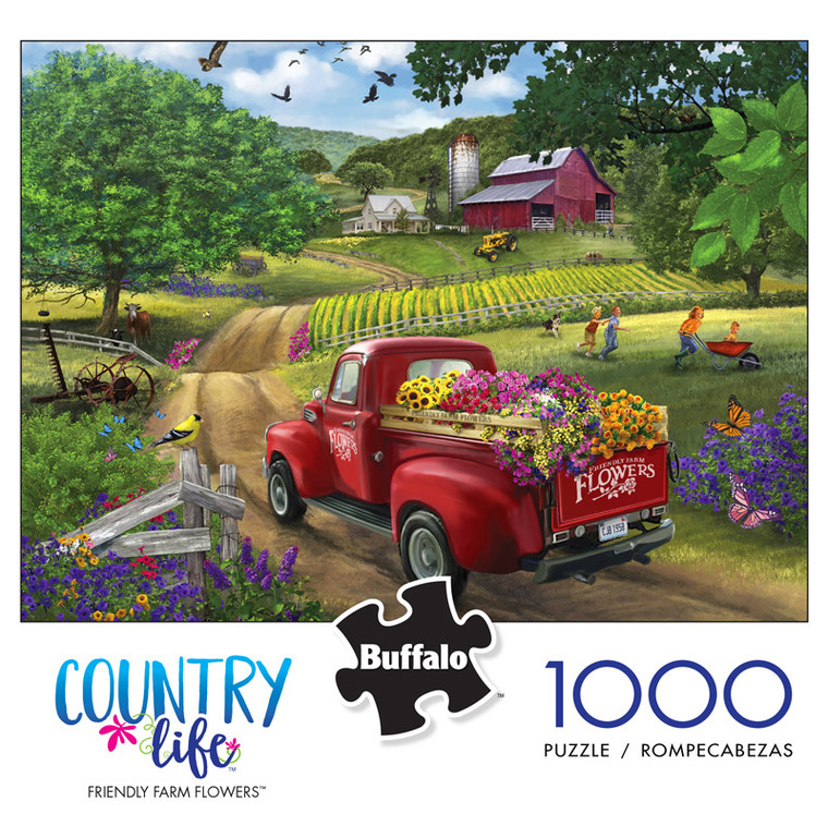 Country Life Friendly Farm Flowers 1000 Piece Jigsaw Puzzle Front