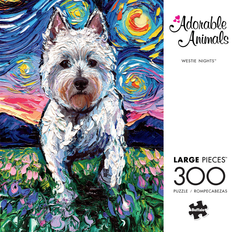 Adorable Animals Westie Nights 300 Large Piece Jigsaw Puzzle Front