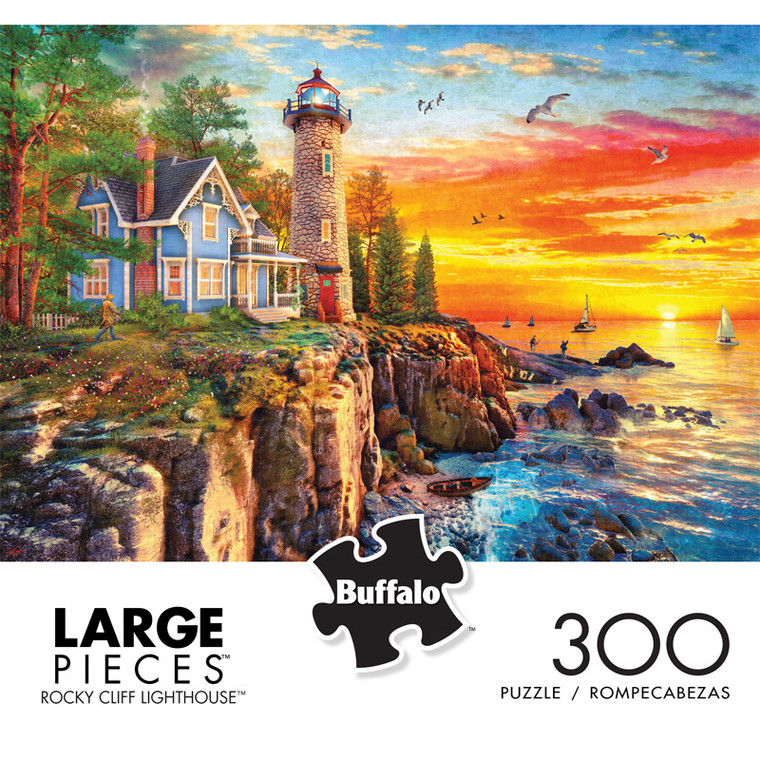 Rocky Cliff Lighthouse 300 Large Piece Jigsaw Puzzle Front