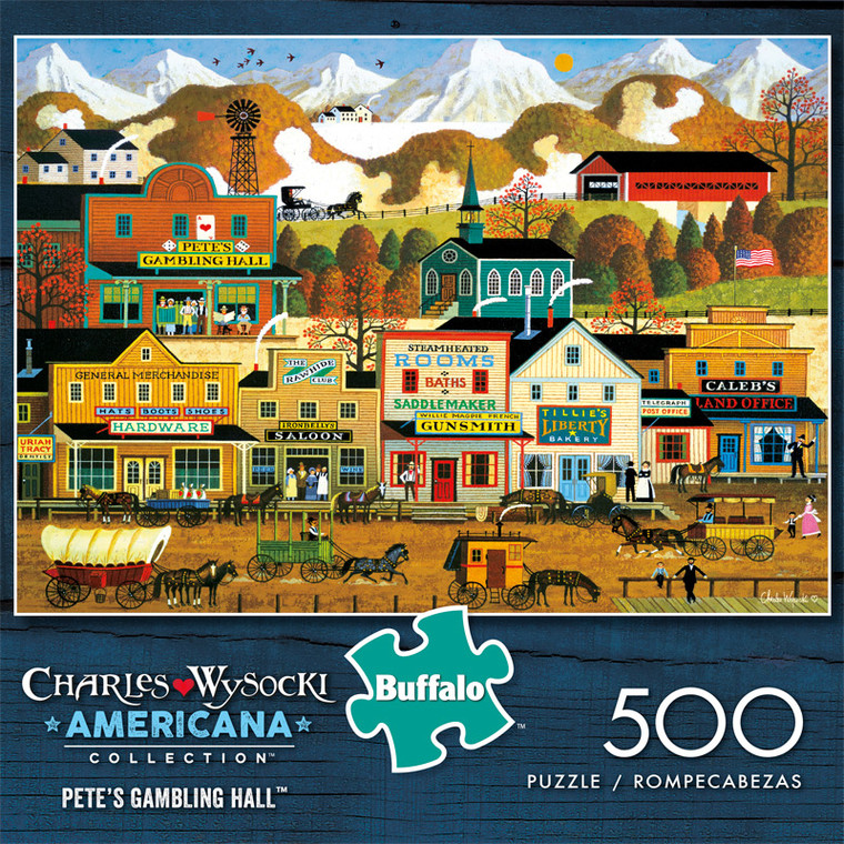 Charles Wysocki Pete's Gambling Hall 500 Piece Jigsaw Puzzle Front