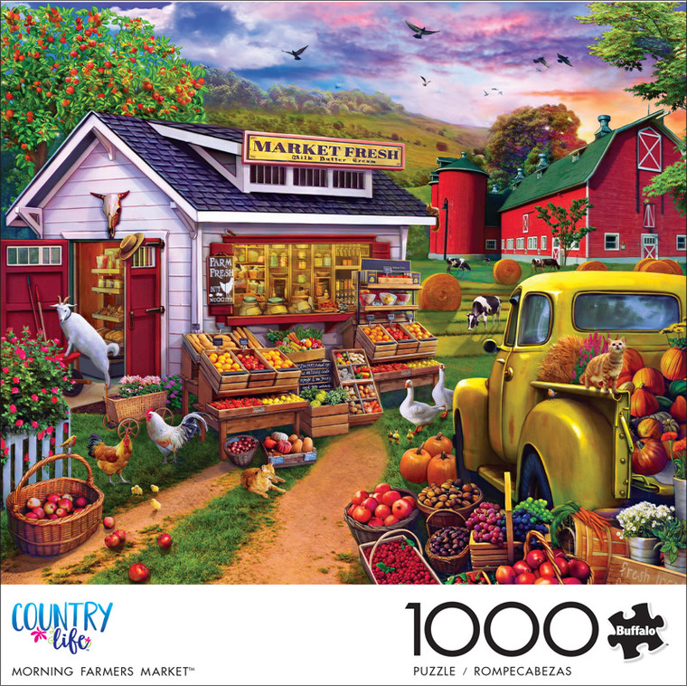 Country Life Morning Farmers Market 1000 Piece Jigsaw Puzzle Front