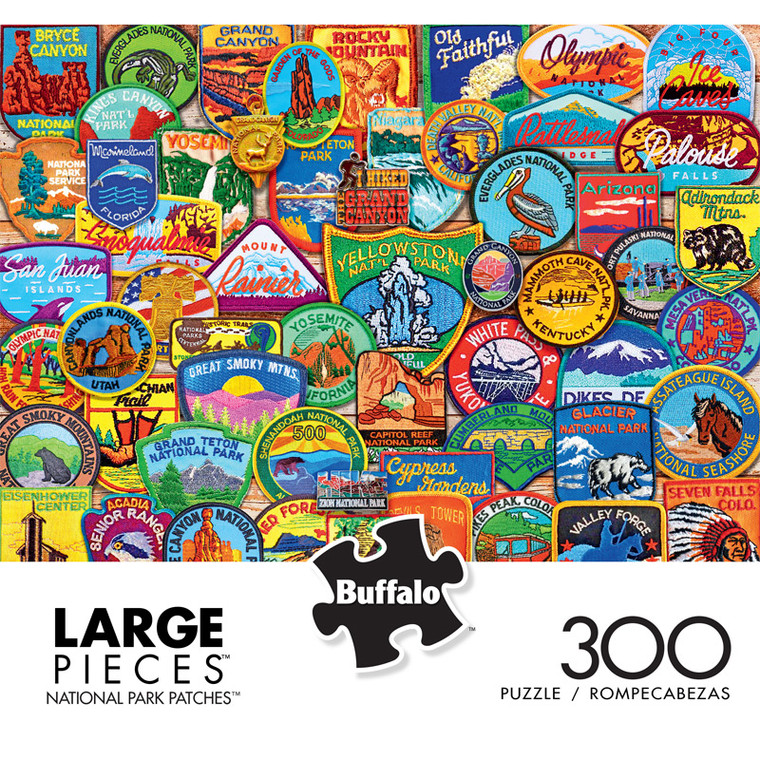 National Parks Patches 300 Large Piece Jigsaw Puzzle Front