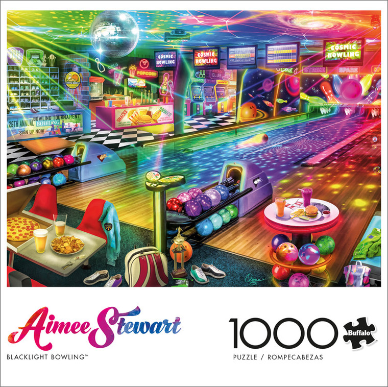Aimee Stewart Blacklight Bowling 1000 Piece Jigsaw Puzzle Front