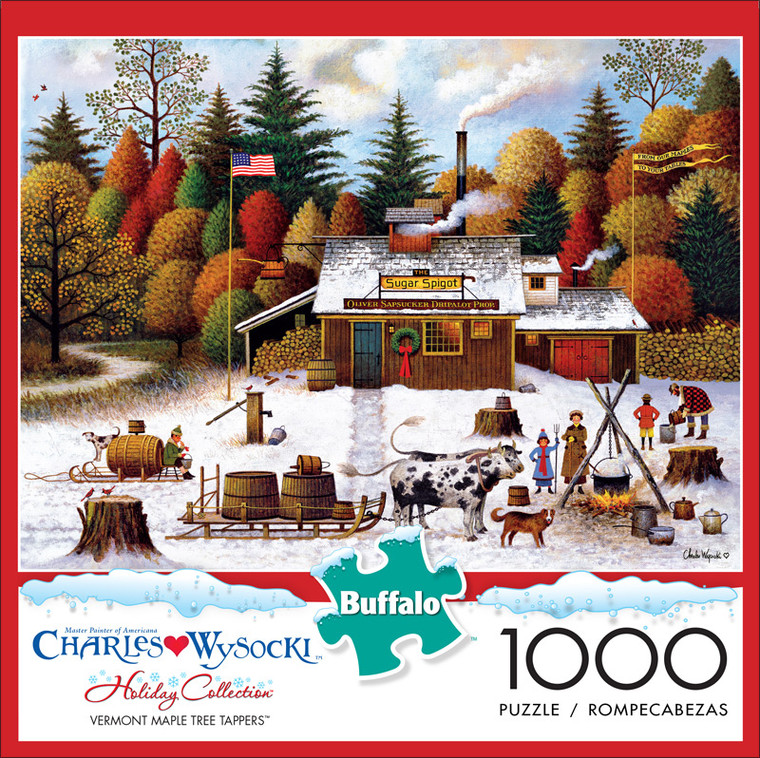 Charles Wysocki Vermont Maple Tree Tappers 1000 Piece Jigsaw Puzzle Front