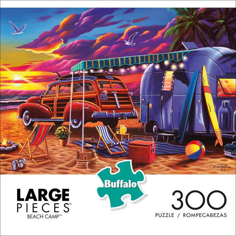 Geno Peoples Beach Camp 300 Large Piece Jigsaw Puzzle Front