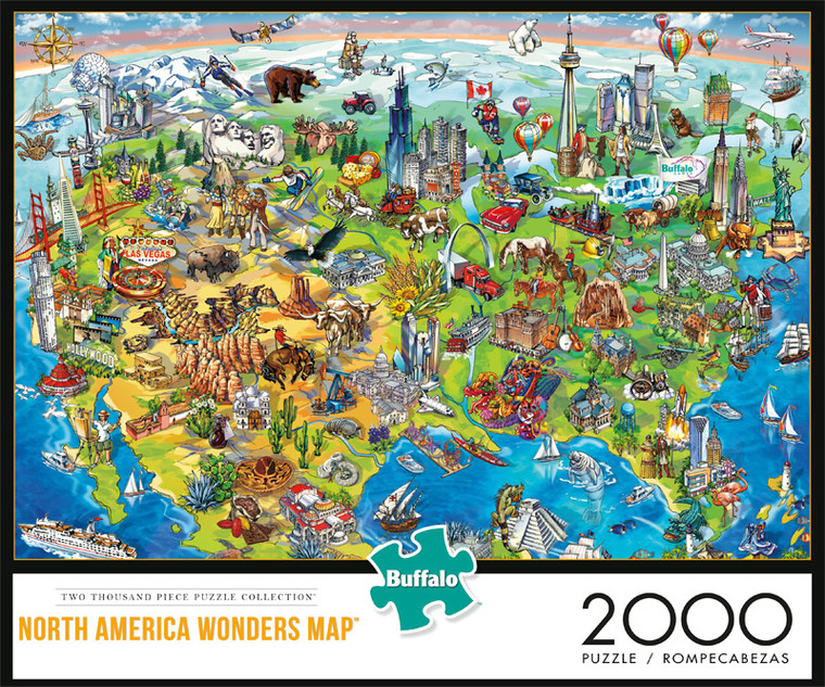 North America Wonders Map 2000 Piece Jigsaw Puzzle Front