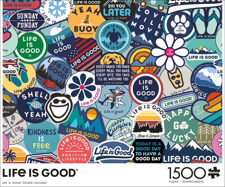 Art of Play Life is Good Sticker Collage 1500 Piece Jigsaw Puzzle Front