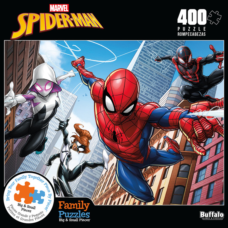 Marvel Spider-Man Web Spinning 400 Piece Family Jigsaw Puzzle Front