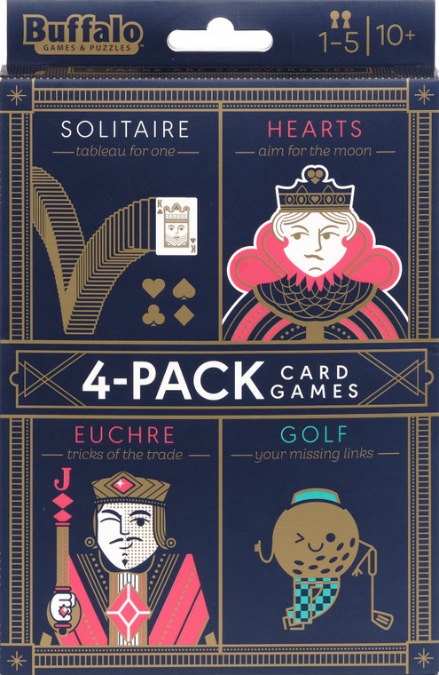 4-Pack of Card Games- Solitaire, Hearts, Euchre, Golf Front
