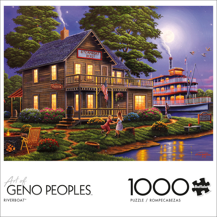 Geno Peoples Riverboat 1000 Piece Jigsaw Puzzle Front