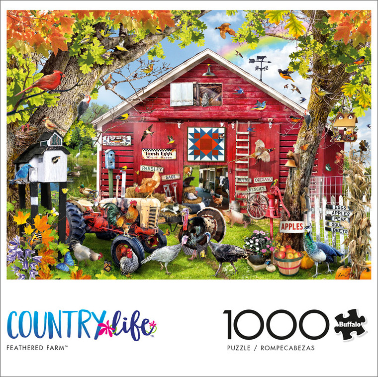 Country Life Feathered Farm 1000 Piece Jigsaw Puzzle Front