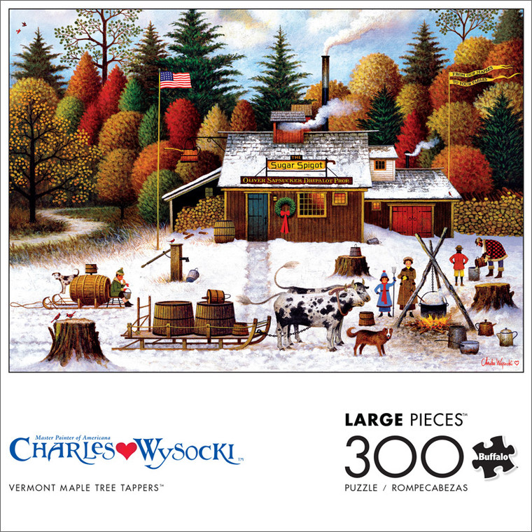 Charles Wysocki Vermont Maple Tree Tappers 300 Large Piece Jigsaw Puzzle Front