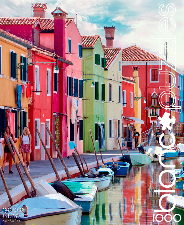 blanc The Canals of Burano Italy 1000 Piece Jigsaw Puzzle Front