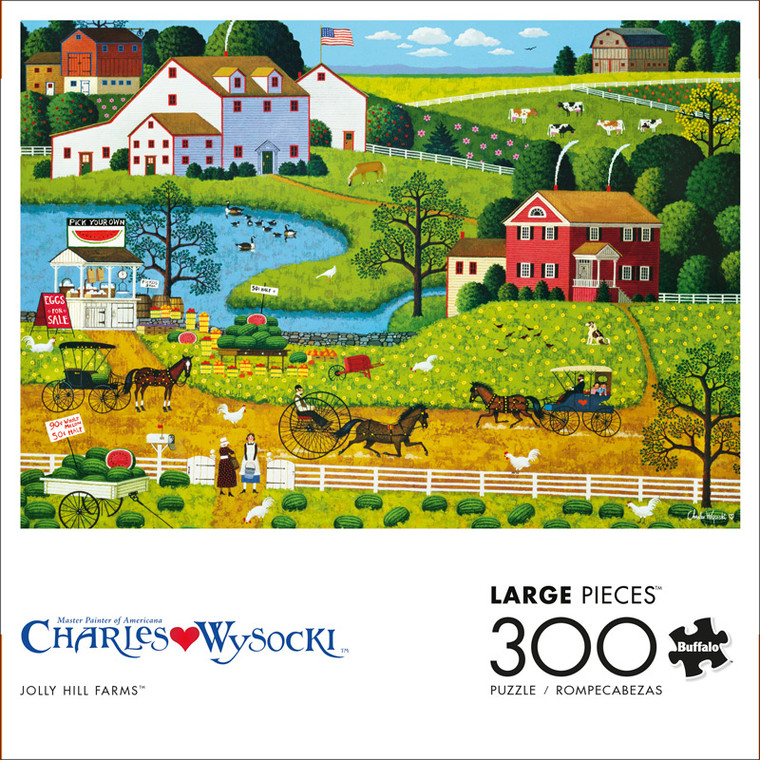 Charles Wysocki Jolly Hill Farms 300 Large Piece Jigsaw Puzzle Front