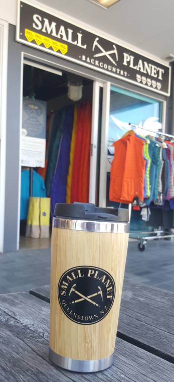 Bamboo Double Wall Cup - 350ml - Small Planet Logo