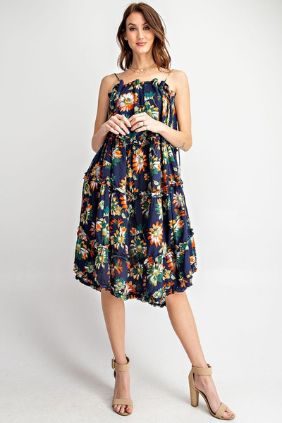 Faded Navy Midi Dress