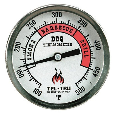 """Tel-Tru BQ300 Silver Dial BBQ Grill Thermometer - 4"""" Stem"""