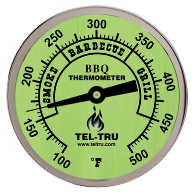 """Tel-Tru BQ300 Glow Dial BBQ Grill Thermometer - 2.5"""" Stem"""