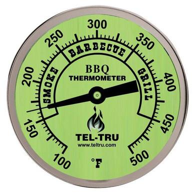 """Tel-Tru BQ500 Glow Dial BBQ Grill Thermometer - 2.5"""" Stem"""