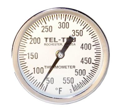 """Tel-Tru UT300 BBQ Grill Thermometer - 4"""" Stem"""