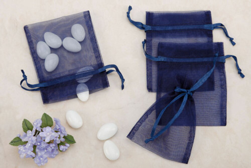 Navy Organza Party favor Bags (Pack of 10)
