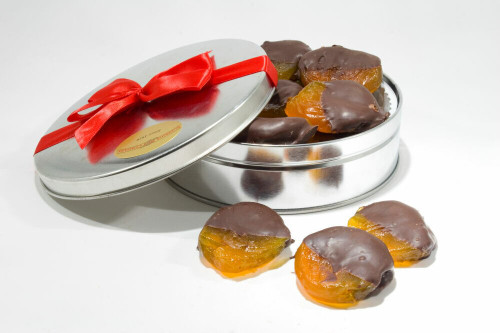 Dark Chocolate Dipped Glazed Apricots