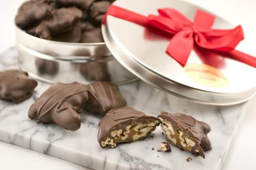 Dark Chocolate Pecan Turtles Gift Tin