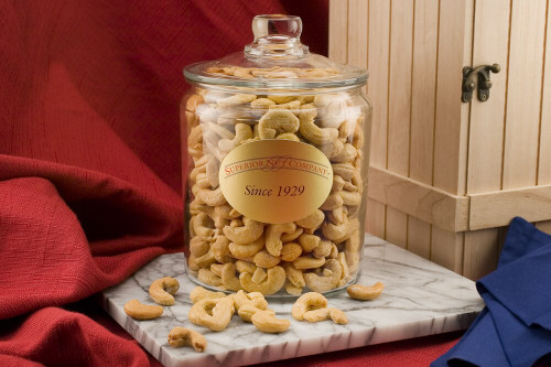 Giant Cashews - 5 Pound Glass Jar (Salted)