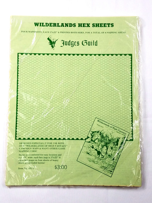 Wilderlands Hex Sheets New Sealed Rare! 46X4 Judges Guild Dungeons & Dragons