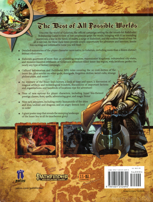 Pathfinder The Inner Sea World Guide HC Paizo with Map