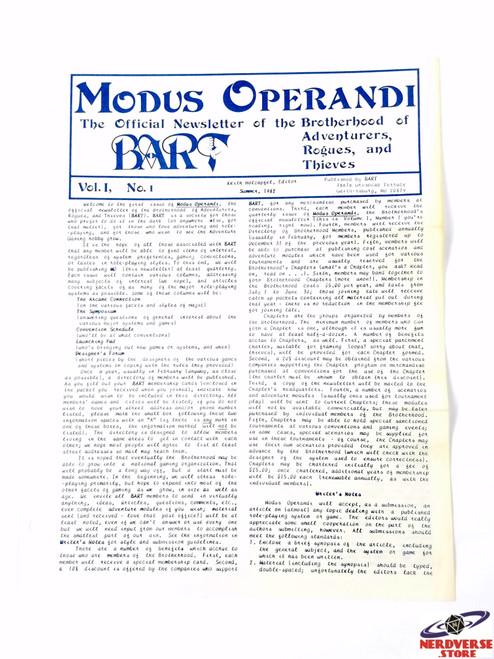 Rare Modus Operandi Newsletter Vol 1 No 1 Summer 1982 BART